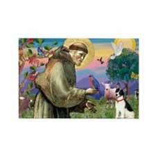 St Francis / Rat Terrier Rectangle Magnet