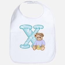 Teddy Alphabet X Teal Bib