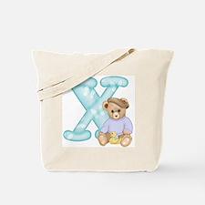 Teddy Alphabet X Teal Tote Bag
