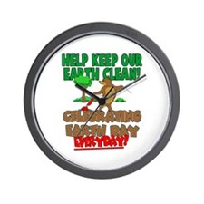 Bear Clean Up for Earth Day Wall Clock