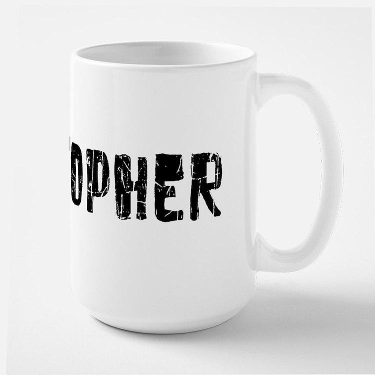 Christopher Faded (Black) Large Mug