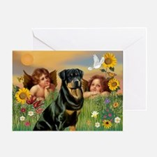 Two Angels & Rottie Greeting Card