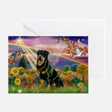 Autumn Angel & Rottie Greeting Card