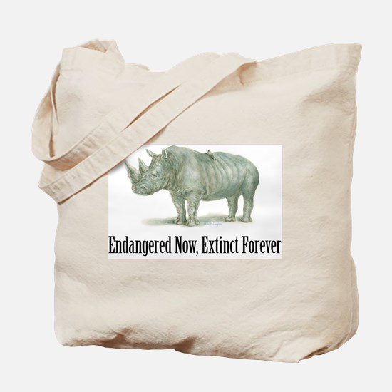 endangered rhinoceros Tote Bag