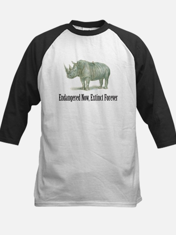 endangered rhinoceros Kids Baseball Jersey