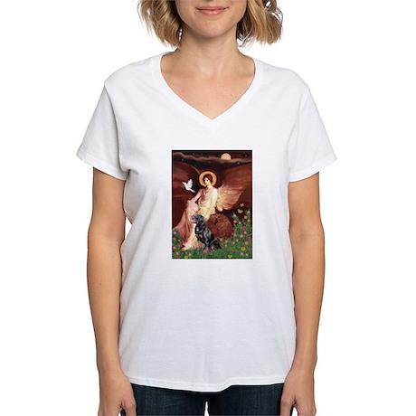 Seated Angel /Rottweiler Women's V-Neck T-Shirt