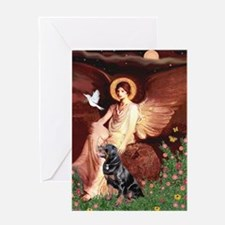Seated Angel /Rottweiler Greeting Card