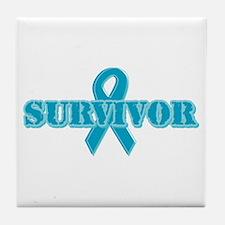 Teal Ribbon Survivor Tile Coaster