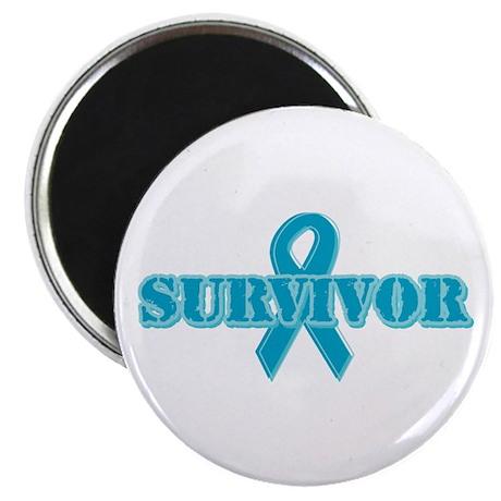 """Teal Ribbon Survivor 2.25"""" Magnet (100 pack)"""