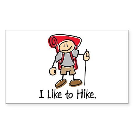 I Like To Hike (Red) Rectangle Sticker