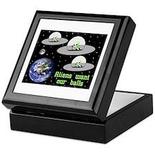 Aliens Want Our Balls Keepsake Box