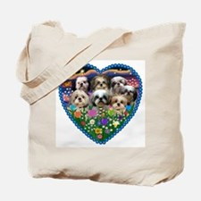 Shih Tzus in Heart Garden Tote Bag
