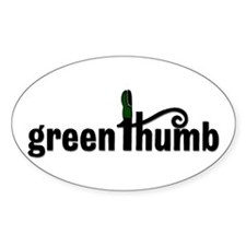 Green Thumb Oval Bumper Stickers