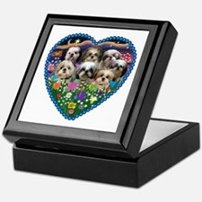 Shih Tzus in Heart Garden Keepsake Box