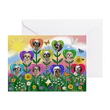 Shih Tzu Heart Garden Greeting Cards (Pk of 10)