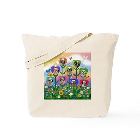 Shih Tzu Heart Garden Tote Bag