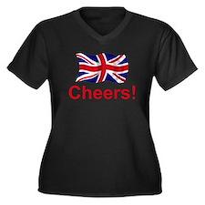 British Cheers! Women's Plus Size V-Neck Dark T-Sh