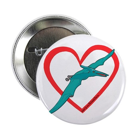 """Heart Flying Dino 2.25"""" Button"""