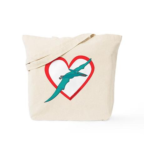 Heart Flying Dino Tote Bag