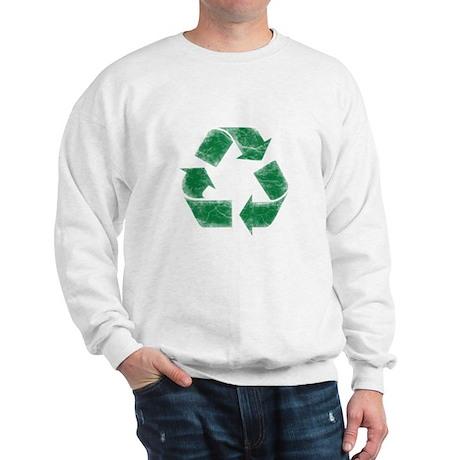Recycle Logo Distressed Stressed Look Sweatshirt