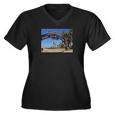 Santa Monica Pier Women's Plus Size V-Neck Dark T-