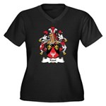 Kaut Family Crest Women's Plus Size V-Neck Dark T-
