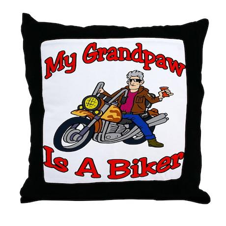 My Grandpaw Is A Biker Throw Pillow