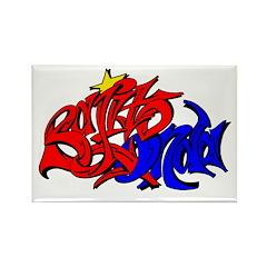 BO GRAFF RED BLUE GOLD Rectangle Magnet