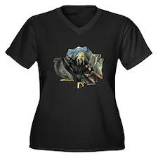 Scream Rose Women's Plus Size V-Neck Dark T-Shirt