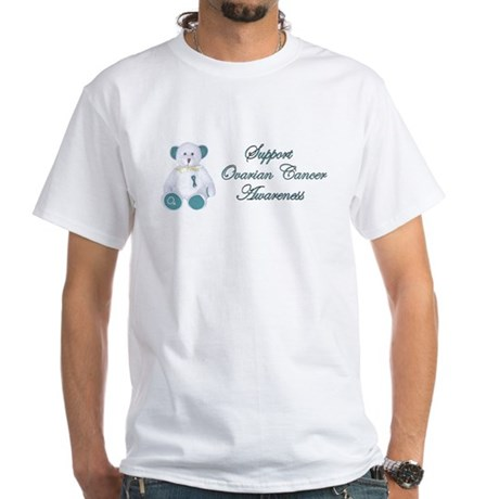 OVARIAN CANCER SUPPORT WITH TEDDY BEAR White T-Shi