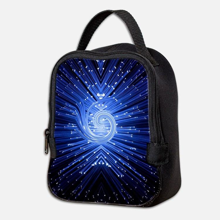 Fiber optic abstract. Neoprene Lunch Bag