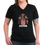 Hohnstein Family Crest Women's V-Neck Dark T-Shirt