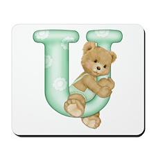 Teddy Alphabet U Green Mousepad