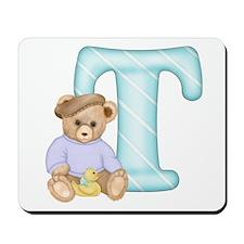 Teddy Alphabet T Teal Mousepad