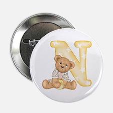 "Teddy Alphabet N Yellow 2.25"" Button"