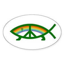 Thoroughly Liberal Jesus Fish Oval Decal