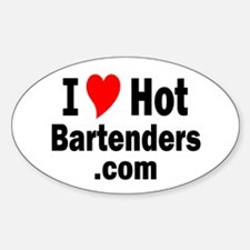 I Love Hot Bartenders .com Oval Decal