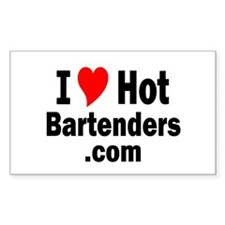 I Love Hot bartenders .com Rectangle Decal