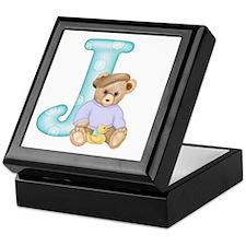 Teddy Alphabet J Teal Keepsake Box