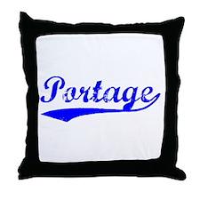 Vintage Portage (Blue) Throw Pillow