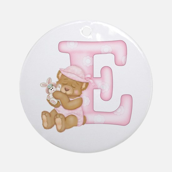 Teddy Alphabet E Pink Ornament (Round)