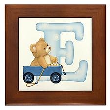Teddy Alphabet E Blue Framed Tile