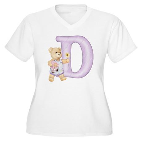Teddy Alphabet D Purple Women's Plus Size V-Neck T
