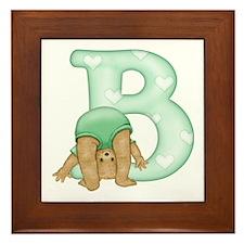 Teddy Alphabet B Green Framed Tile