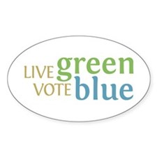 Live Green Vote Blue Oval Stickers (50 pk)