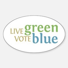 Live Green Vote Blue Oval Stickers (10 pk)