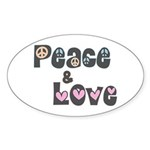 Peace and Love Oval Stickers (50 pk)
