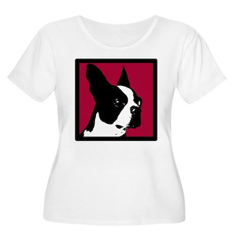 Boston Terrier w/Burgundy Women's Plus Size Scoop