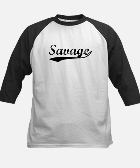 Vintage Savage (Black) Kids Baseball Jersey