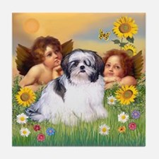 Angels & Shih Tzu Tile Coaster